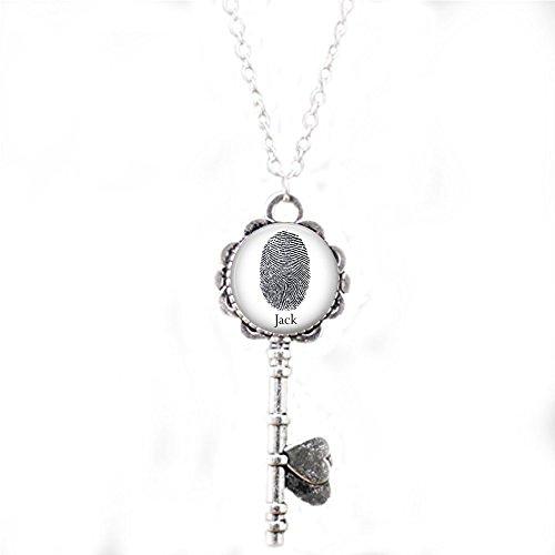 Custom Fingerprint Necklace - Your Loved One's Fingerprint or Thumbprint with Name - Fingerprint Key Necklace - Your Actual Fingerprint