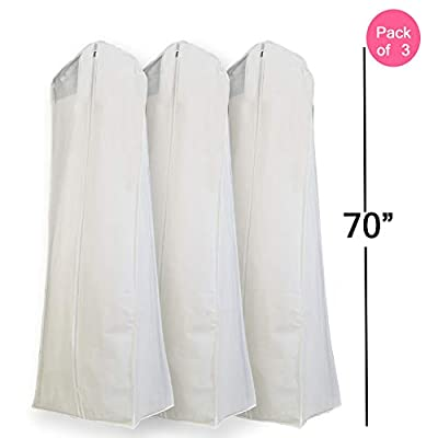 "Semapak Pack of 3 X Large White Non Woven Bridal Wedding Gown Dress Garment Bag, full length dress bags with 15"" Gusset"