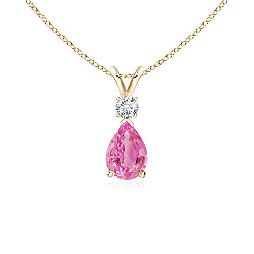 Pink Sapphire Teardrop Pendant with Diamond in 14K Yellow Gold (7x5mm Pink Sapphire)