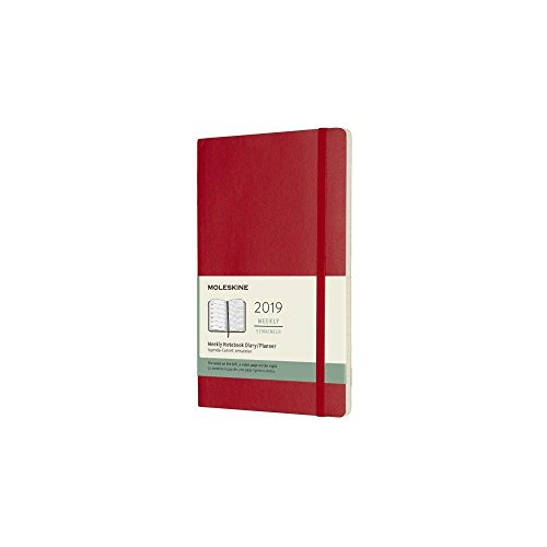 Moleskine 2019 12M Weekly Notebook, Large, Weekly Notebook, Red Scarlet, Soft Cover (5 x 8.25)