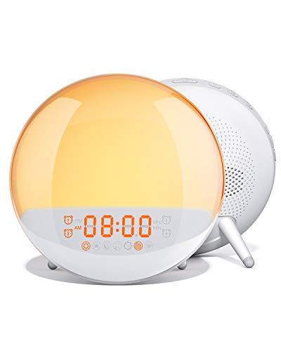 AUKEY Wake-Up Light Sunrise Simulation Alarm Clock with Sleep Aid, FM Radio, 7 Nature Sounds, 7 Colors, 20 Brightness Levels, and 16 Volume Levels, Night Light for Bedroom
