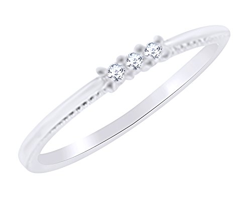 AFFY Three Stone Women's Engagement Wedding Ring In 10K White Gold (0.10 Cttw) Round White Natural Diamond Ring Size 11 0.10 Cttw Natural
