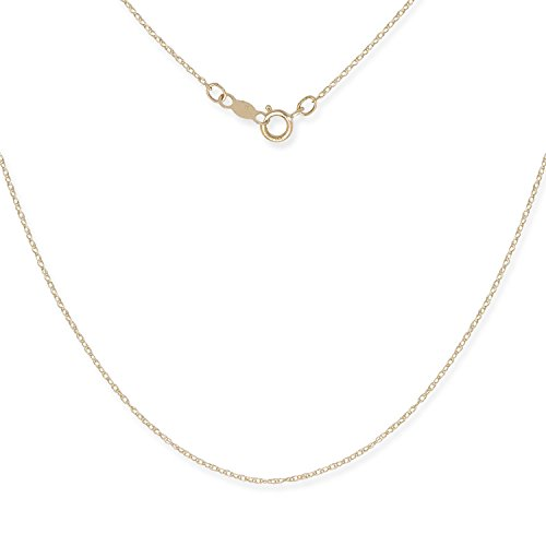 JewelryWeb 14k Gold Women's 16-22 Inch Carded Rope Chain Necklace (Yellow or White) (22, Yellow-Gold)