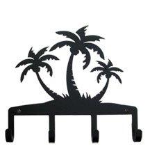 KH-139 Triple Palm Trees Silhouette Black Metal Key Holder
