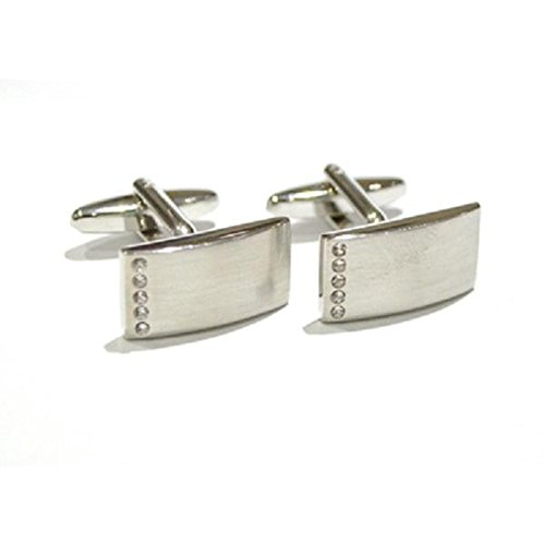 Gtr Men's Cufflinks X2AJ391 Curved Rectangular Cufflinks Brushed FInish with Crystals