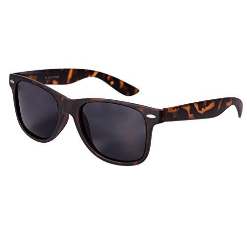 Nerd Sunglasses Matt Rubber Style Retro Vintage Unisex Glasses Spring Hinge Black - 24 Different Models (Leo-Black, - Rubber Wayfarer