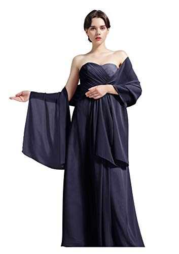 Sheer Soft Chiffon Bridal Women's Shawl For Special Occasions Midnight Blue