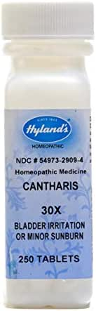 Hyland's Cantharis 30X Tablets, Natural Homeopathic Relief of Bladder Irritation or Minor Sunburn, 250 Count