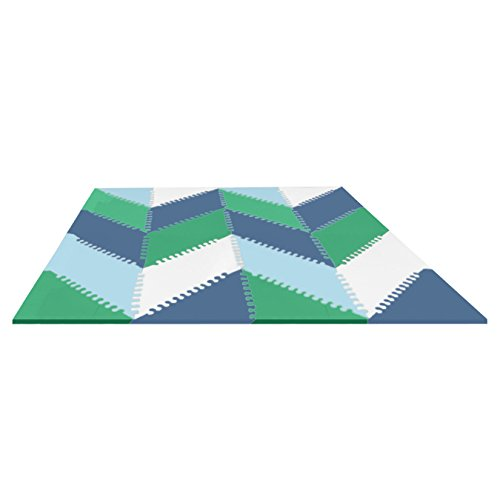 Skip Hop Geo Playspot Foam Floor Tiles, Blue/Green - Blue Playmat