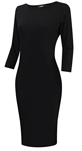 POZON Women's 3/4 Sleeve Solid & Striped Mini Bodycon Dress Black M