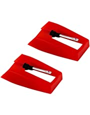 LUTER 2 Pcs Record Player Needle Turntable Needles Stylus Player Needle Replacement Accessories for Vinyl Record Player (Red)