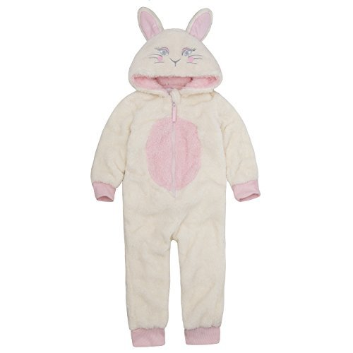 Onezee Infant Girls Novelty Snuggle Fleece Bunny Rabbit Hooded Jumpsuit Costume -