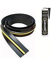 Weather Stop joint de seuil de porte de garage de 15 mm (hauteur) | 2,52 m | PVC noir et jaune | adhésif inclus