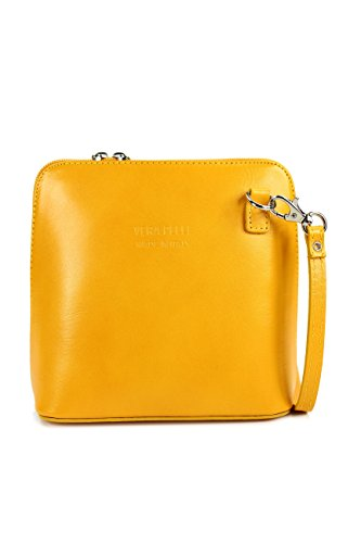 Italian Leather Small elegant and practical shoulder bag Women's Shoulder Bag, 17 x 16.5 x 8.5 CM (W x H x D) Yellow
