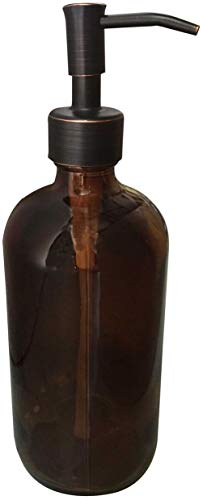 - Industrial Rewind Amber Glass with Bronze Soap Dispenser Pump - 2cc Oil Rubbed Bronze Metal Pump - 16oz Glass Boston Round Bottle for Liquid Soap, Dish Soap or Body Lotion (Amber/ORB)