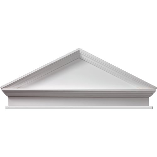 Fypon CPCP54BT 54''W x 58 1/4''OW x 22''H x 3''P, Pitch 6/12 Combination Peaked Cap Pediment with Bottom Trim, Urethane by Fypon