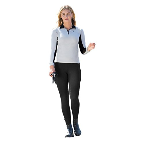 Schooling Tights (Horze Juliet UV Protec Silicone Grip Women's HyPer Flex Schooling Tights , Full Seat US 30 Black)