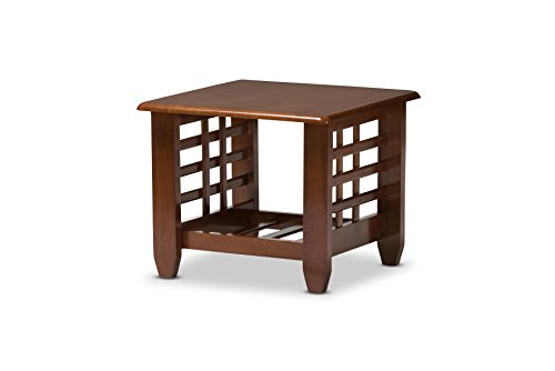 Baxton Studio Lamon Modern Classic Mission Style Cherry Finished Wood Living Room Occasional End (Cherry Mission End Table)
