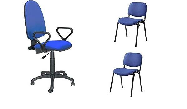 Grupo SDM Pack 2 Conjuntos sillas de Oficina con Brazos + sillas fijas: Amazon.es: Hogar