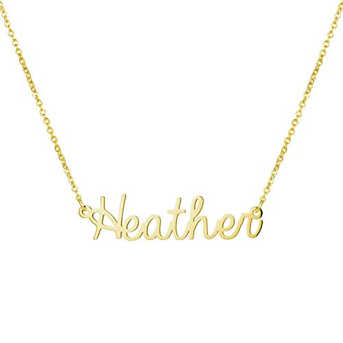 Yiyang Stainless Steel Name Necklace 18K Gold Plated Personalized Jewelry Birthday Gift for Girls Heather ()