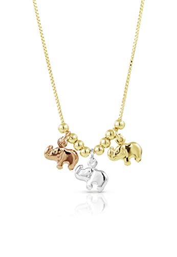 - SGS International Gold Plated Tri Color Gold Elephant Charm Necklace