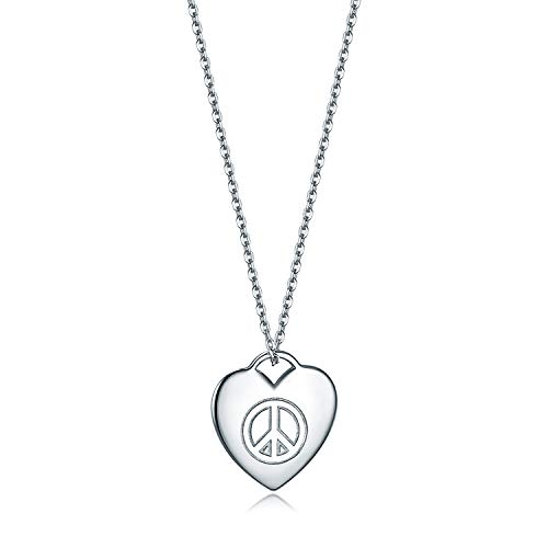 Peace Heart Sign Necklace (18K White Gold Plated Sterling Silver Heart Pendant Necklace 18