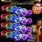 TURNMEON 2019 20 Pack LED Glasses, 5 Color Light Up Plastic Shutter Shades Glasses Shades Sunglasses for Adults Kids Glow in The Dark Party Favors Neon Party Supplies