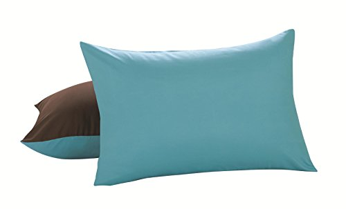 Lux Hotel Bedding Reversible Microfiber Pillow Shams - Chocolate/Turquoise, Standard/Queen, 2 Pack (Brown Turquoise And Pillows)