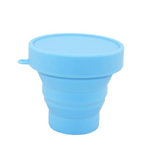 Tenworld Portable Silicone Telescopic Drinking Collapsible Folding Cup Travel Camping (Blue)