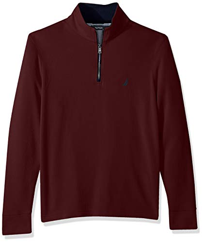 Nautica Men's Long Sleeve Half Zip Mock Neck Sweatshirt, Royal Burgundy, Small