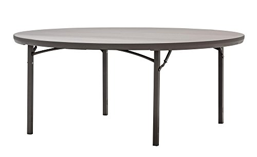 """- ZOWN Commercial 300 lb. Use Rate 72"""" (6 ft.) Round Heavy Duty Blow Mold Banquet Folding Table, Brown"""
