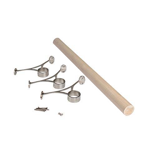 Steel Tubing Satin Stainless - Outwater 8' Bar Foot Rail Kit - Complete Undercounter Mount Hardware and Maple Tubing, Satin Stainless Steel Finish
