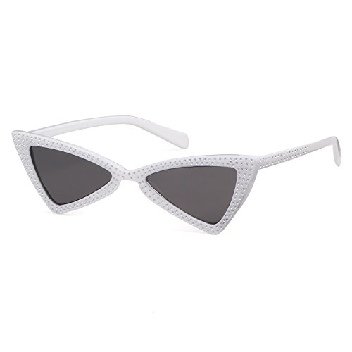 Small Cat Eye Sunglasses Clout Goggles with Triangle Lens UV402 - Triangle Glasses Face