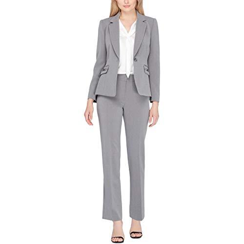 (Tahari by Arthur S. Levine Women's Heather Grey Pebble Crepe One Button Pant Suit, 4)