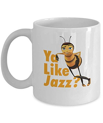 Ya Like Jazz Bee Movie Coffee Mug Cup (White) 11oz Funny Barry the Bee Gift Merchandise Accessories Decal Sticker - Bee Movie Script