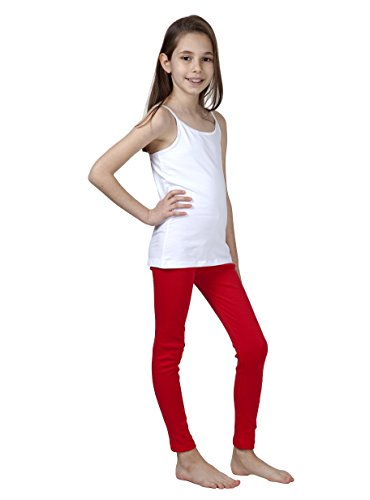 1971140b CAOMP Girls'%100 Organic Cotton Leggings for School Play (5/6, Red ...