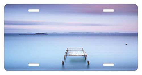 zaeshe3536658 Landscape License Plate, Wooden Jetty on Bolsena Lake Italy Long Exposure Photo European Nature View, High Gloss Aluminum Novelty Plate, 6 X 12 Inches, Baby Blue Lilac by zaeshe3536658