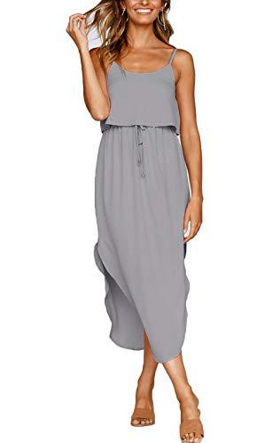 Adjustable Dress - NERLEROLIAN Women's Adjustable Strappy Split Summer Beach Casual Midi Dress (Gray, Medium)