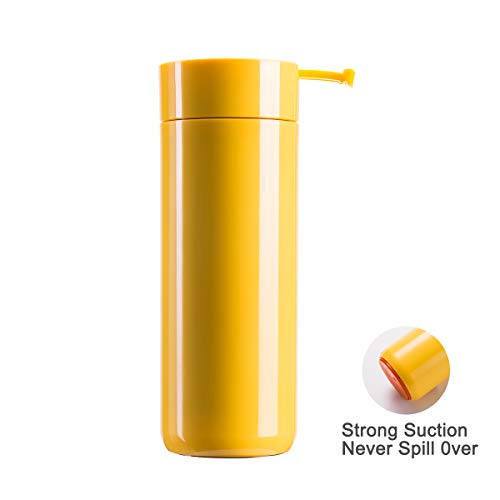 Wushang Double Wall Vacuum Insulated Stainless Steel Suction Water Bottle, Travel Coffee Mug, Leak-proof Thermos, 14oz, Wide Mouth with BPA Free, Spill-proof Cups for Kids, Adults, Gift Tumbler,Yellow