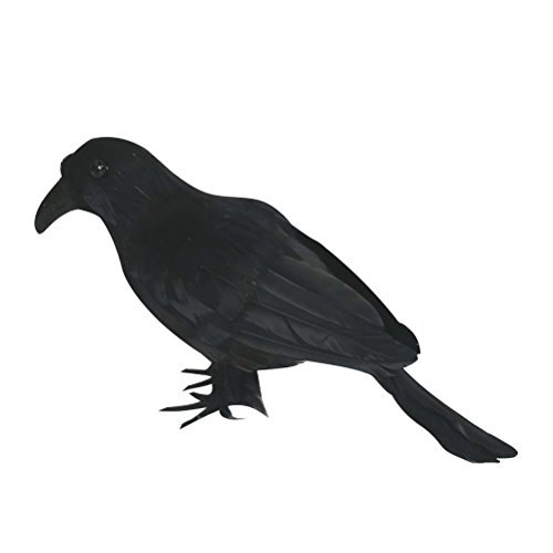Crow Costume Halloween (OULII Halloween Black Crow Artificial Bird Raven Prop Art and Crafts For Halloween Party)