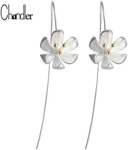 Unique 925 Silver Long Flower Earrings For Women Girls Gift Statement Jewelry