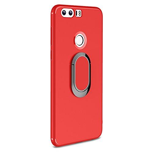 Funda Huawei Honor 8 con Anillo Kickstand, Vandot 360 Grados de Giratorio Soporte Ring Grip Case [Compatible con la Caja de Montaje de Coche Magnético] Resistente Matte TPU Shockproof Anti-Arañazos Pr Anillo-2