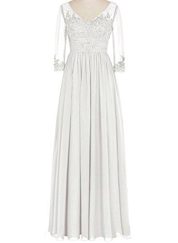 Bess 3 Sleeve the V Long Ivory 4 Bride Dresses Bridal Women's of Neck Mother 41rwqp64