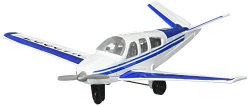 Hot Wings Beechcraft Bonanza with Connectible Runway Die Cast Model Airplane, White/Blue