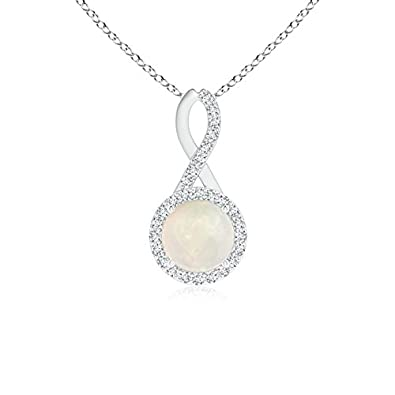 Angara Opal Infinity Loop Necklace in Platinum - October Birthstone Necklace EtupMhfx