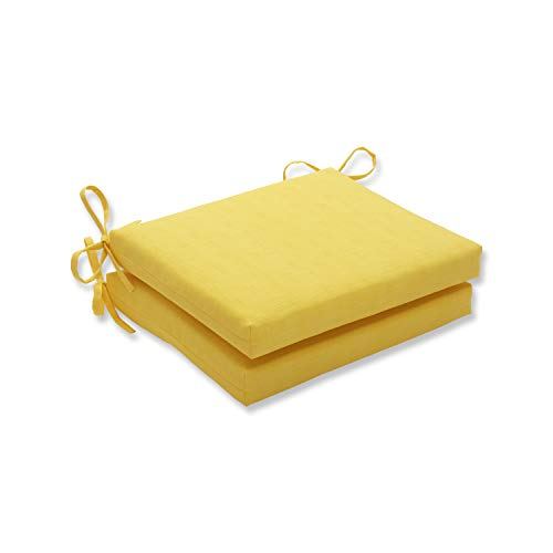 Cheap Pillow Perfect Outdoor Fresco Yellow Squared Corners Seat Cushion, Set of 2