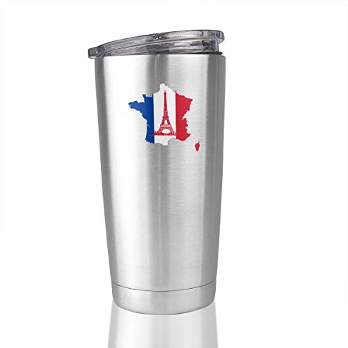 France Flag Paris Eiffel Tower 20 Oz Stainless Steel Vacuum Insulated Tumbler Coffee Mug]()