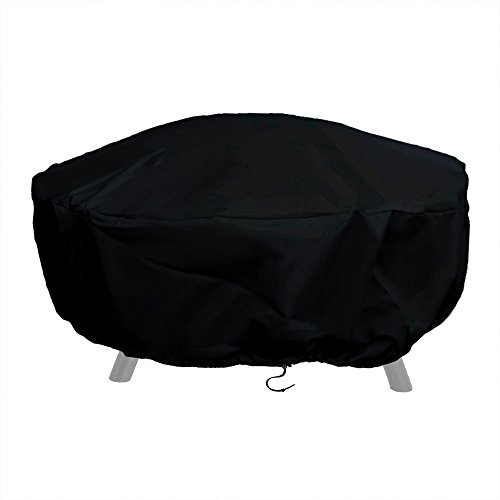 Sunnydaze Outdoor Round Fire Pit Cover with Drawstring and Toggle Closure - Heavy Duty Weather-Resistant and Waterproof Black 300D Polyester and PVC - 60 Inch Diameter Protective Fire Pit Accessory