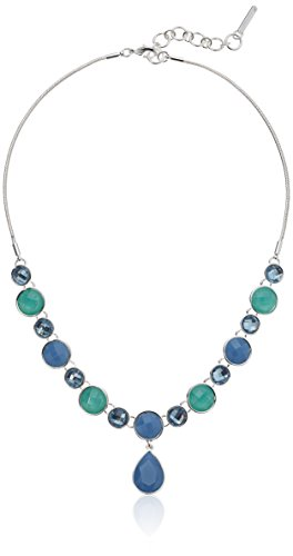 Nine West Womens Silver-Tone and Blue 16 Y Shaped Necklace