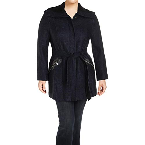 (Via Spiga Women's Belted Ribbed Collar Coat, Black/Purple, 8 US )